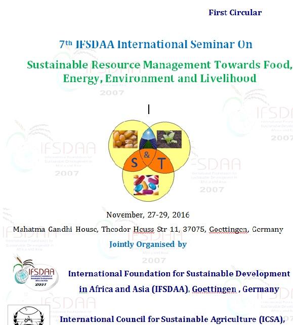 7th IFSDAA International Seminar On Sustainable Resource Management Towards Food, Energy, Environment and Livelihood