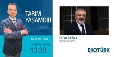 Yönetim Kurulu Başkanımız Sayın  Dr. Vehbi ESER  EKOTÜRK TV / Tarım Yaşamdır Programının konuğu olacak